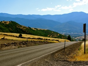 View of Dead Indian Memorial Road towards Ashland, Oregon